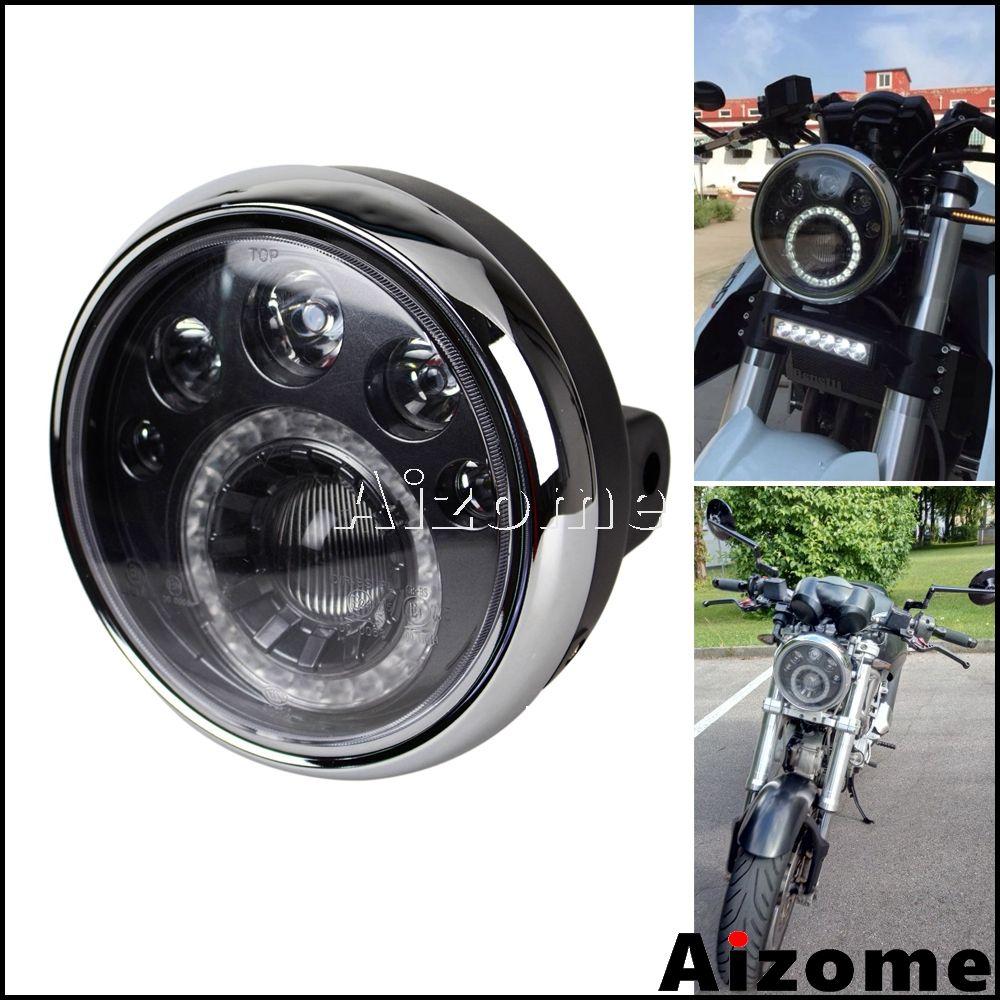 Universal Motorrad LED Scheinwerfer Für Harley Softail Dyna Chopper Cafe Racer Cruiser Streetbike Nach E4 Runde Scheinwerfer 7