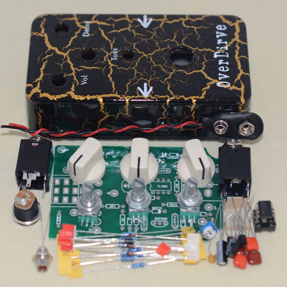 DIY overdrive pedal effekte kit true Bypass mit 1590B aluminium gehäuse schwarz Blitz pedal kit kostenloser versand