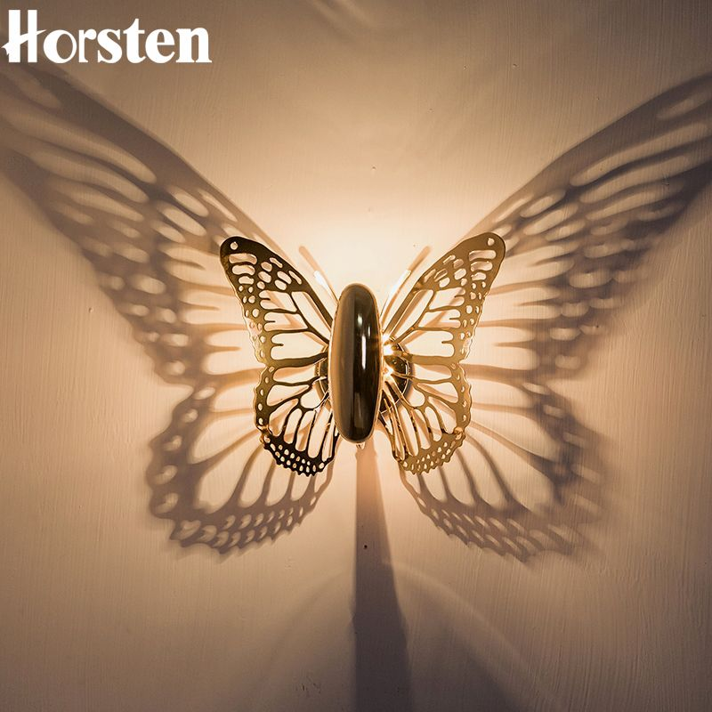 Horsten New Creative LED Wall Lamp Butterfly Lampshade Projection Shadow Wall Light Gold Butterfly Wall Sconce For Home Cafe