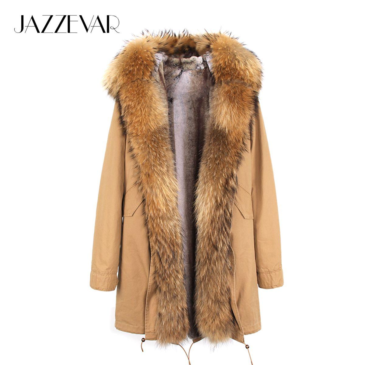 2019 neue Ankunft Pelz Parka Marke Lange Frauen Winter Mantel Echt Waschbären Pelz Jacke Luxus Große Abnehmbare Kragen Mit Kapuze Jacken