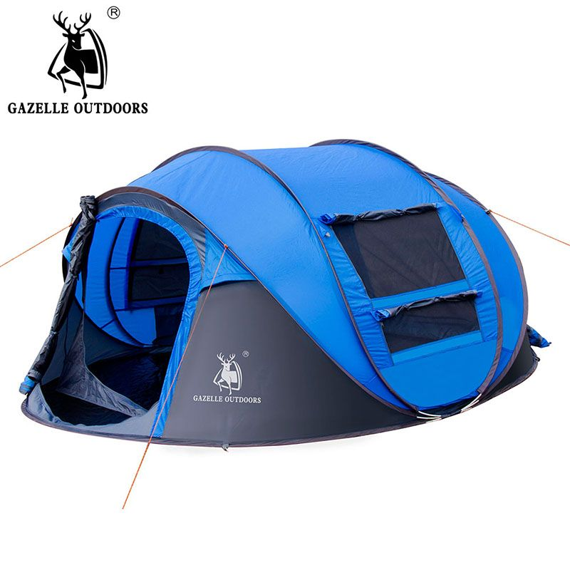 GAZELLE OUTDOORS camping tent Large space3-4persons automatic speed open throwing pop up windproof camping tent