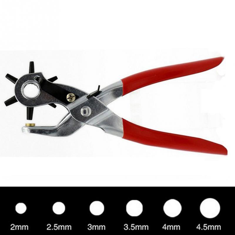 9 ''Revolving Leder Punch Zange 6 Größen Runde Loch Locher Werkzeug Machen Loch Puncher für Armband Karte Leder Gürtel #702