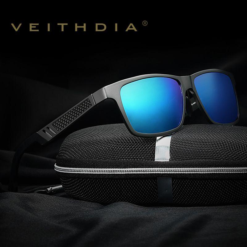 VEITHDIA aluminium polarisé lentille lunettes de soleil hommes miroir conduite lunettes de soleil lunettes carré accessoires lunettes nuances 6560