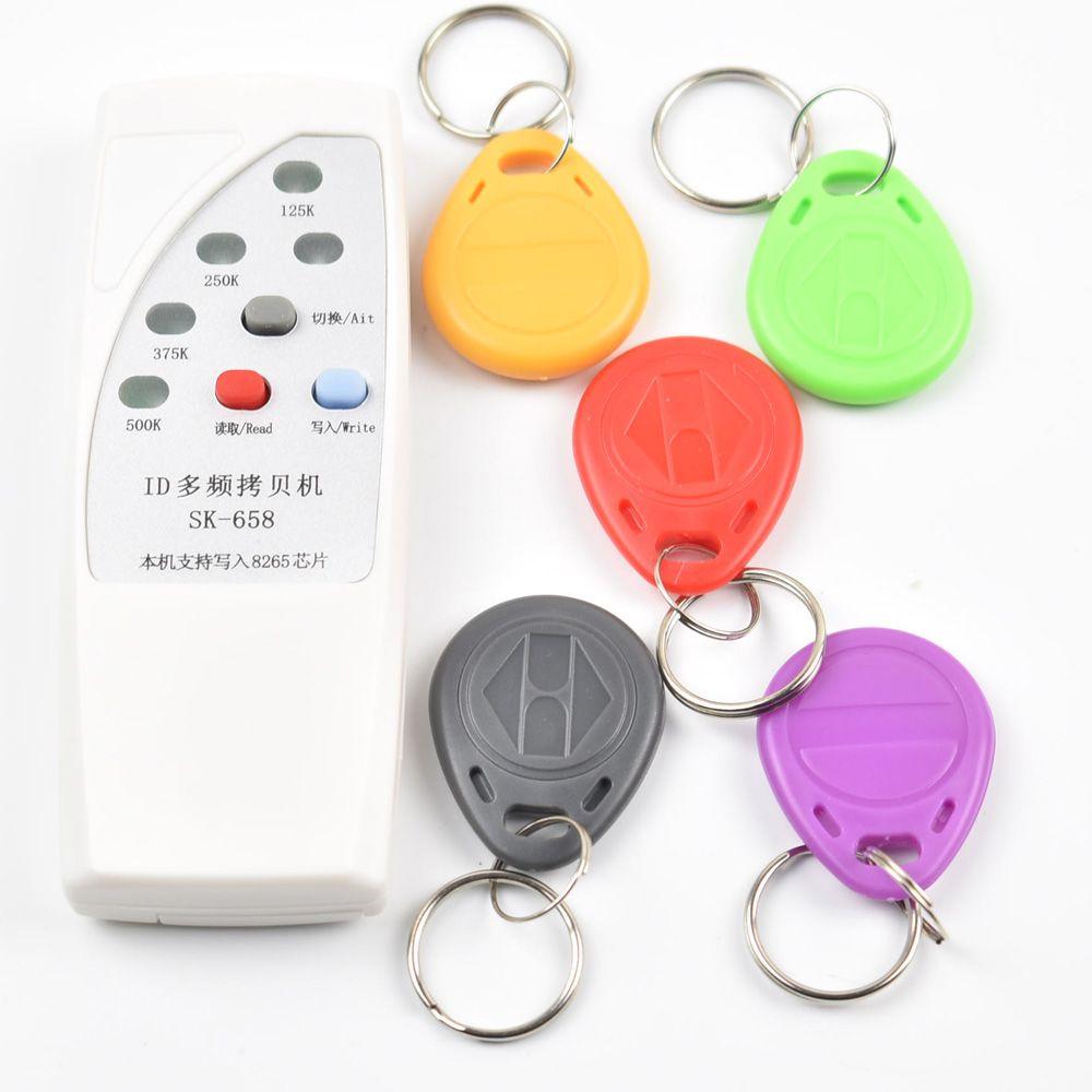 Handheld 4 Frequenz 125 khz 250 karat 375 karat 500 karat RFID Copier/Duplicator/Cloner ID EM Leser & Writer & 5 stücke Rewrite T5577 Tag