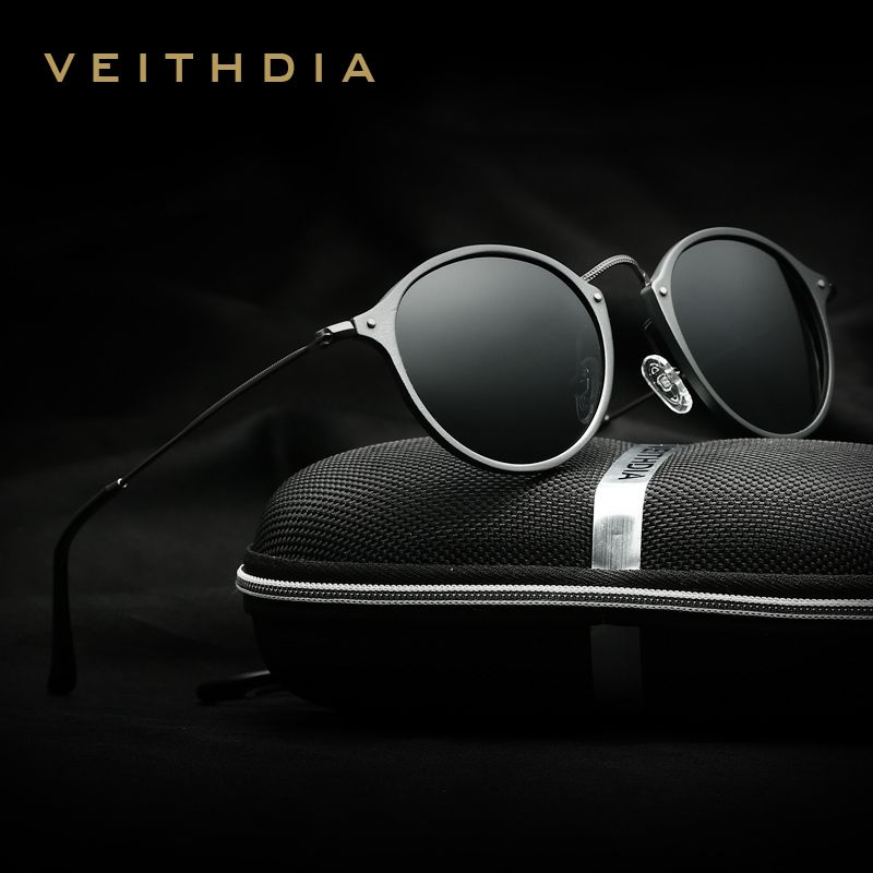 VEITHDIA Brand Designer Fashion Unisex Sun Glasses Polarized Coating Mirror Sunglasses Round Male Eyewear For <font><b>Men</b></font>/Women 6358