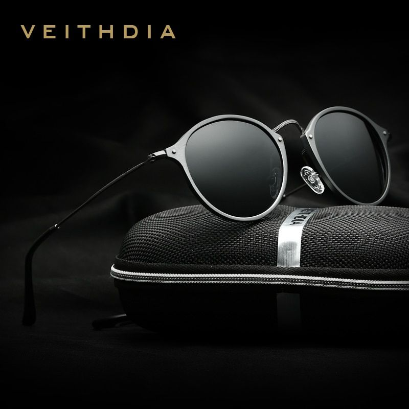 Veithdia marque designer de mode unisexe lunettes de soleil polarisées revêtement miroir lunettes de soleil ronde mâle lunettes pour hommes/femmes 6358