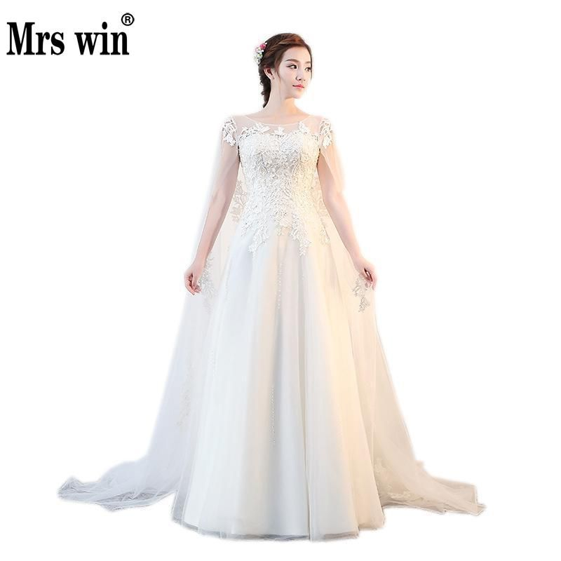 Wedding Dress 2017 New High-end Short Sleeve Luxury Organza With Embroidery Elegant Boat Neck A-line Vintage Dress For Pregnant