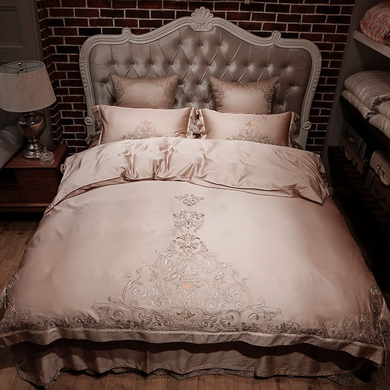 Gold silver color tencel silk Bedding Set 4/6pc king queen size bed set luxury embroidered duvet cover bed sheet set pillowcase