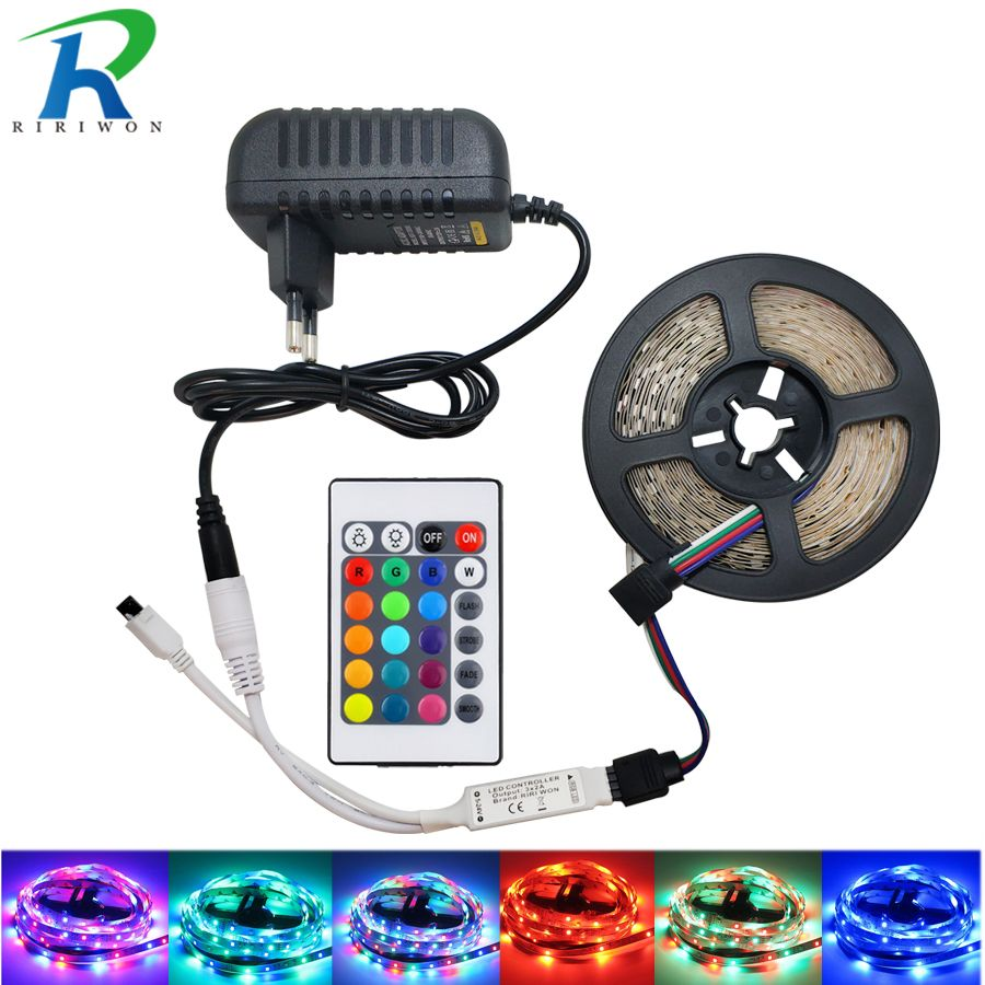 2835 RGB 5M 10M Led Strip Light 15M 20M Led Ribbon DC 12V Non Waterproof RGB Tape With ir 24 Key Remote Controller  IP65 For Kit