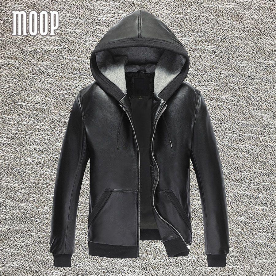 Black genuine leather jackets and coats men 100%lambskin hooded motorcycle jacket coat veste cuir homme 2 patch pockets LT838
