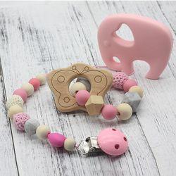 Sucette Clip En Bois Bio et Silicone Perles 1 PC Hochet Porte-Bébé À Croquer Accessoires pendentif