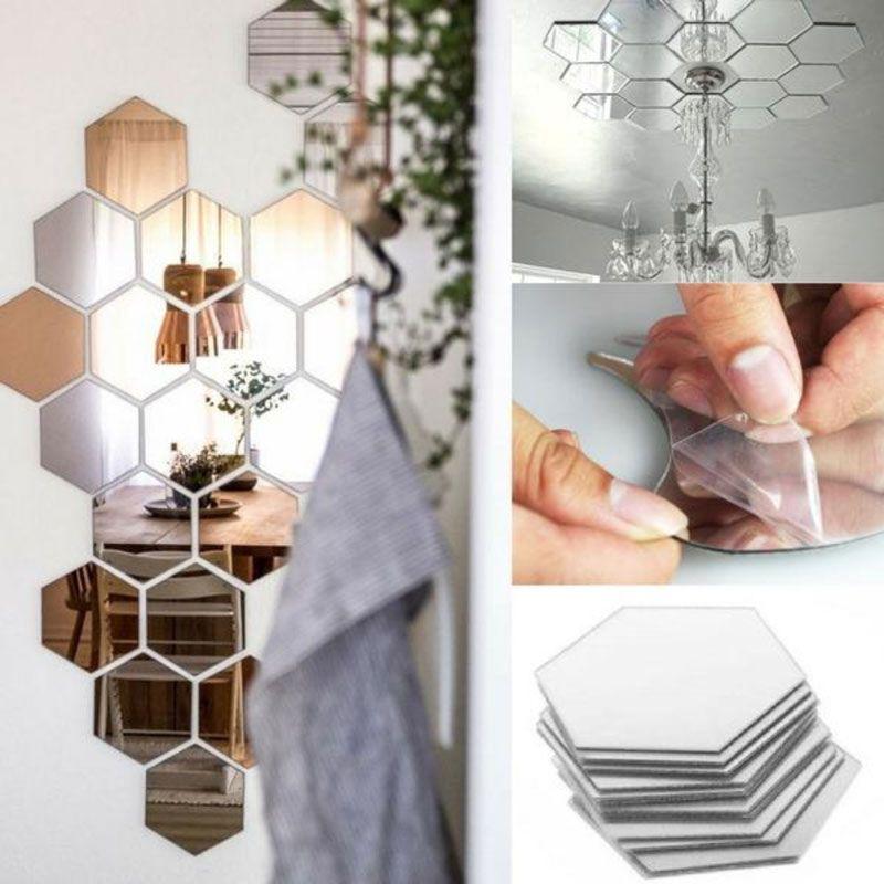 7 pièces/ensemble hexagone miroir Stickers muraux 3D acrylique miroir décoratif Autocollant étanche décor à la maison Autocollant Mural