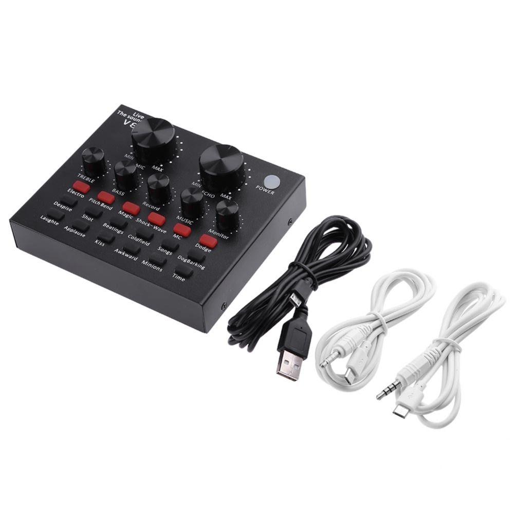 V8 Audio USB externe carte son casque Microphone Webcast divertissement personnel Streamer diffusion en direct pour PC téléphone ordinateur