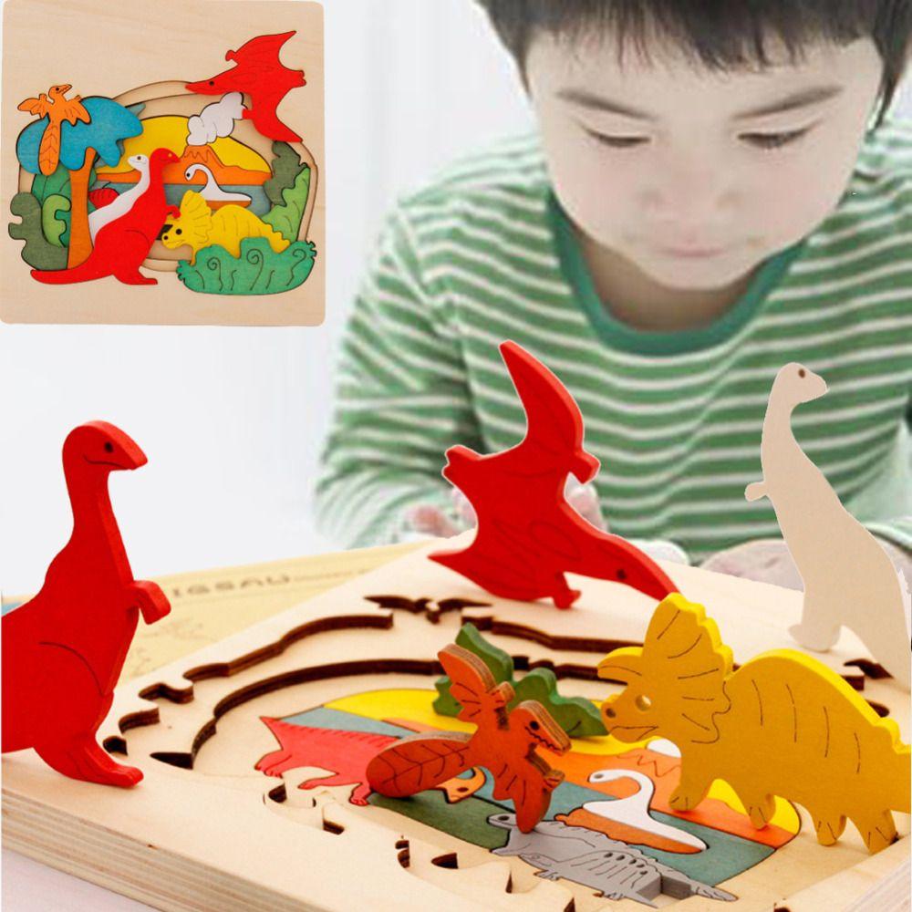 Los niños Juguetes de Madera para Niños Rompecabezas Juguetes Educativos Tempranos Juguetes 3D Rompecabezas Historia de Dibujos Animados Dinosaurio Animales Rompecabezas Junta