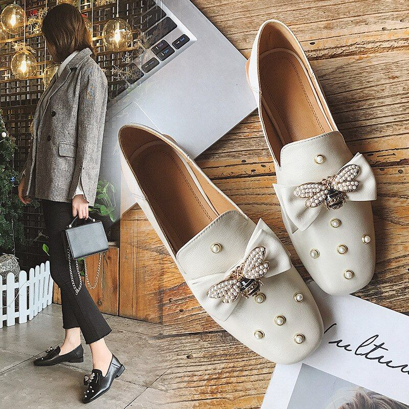 Spring New Pattern Flat Single Shoe Shallower Ma'am Small Leather Shoes Restore Ancient Ways Occupation Casual ShoesALEX