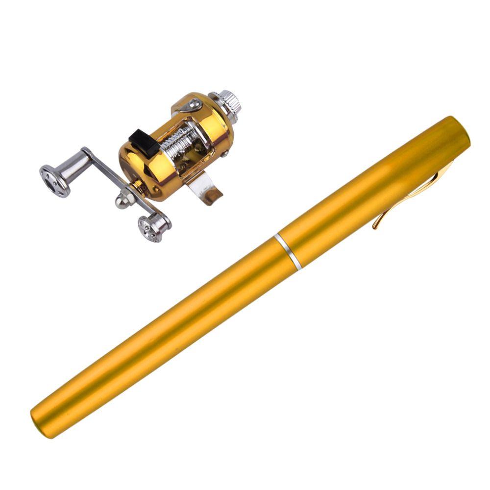 1 pc Mini Portable en alliage d'aluminium poche stylo forme poisson canne à pêche pôle avec bobine livraison gratuite