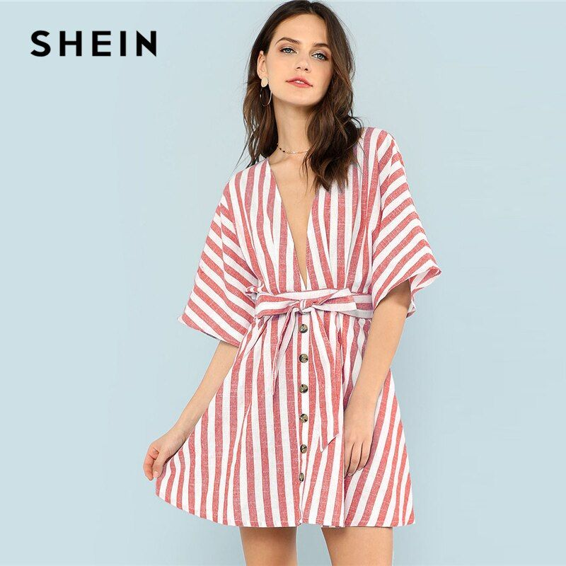 SHEIN Multicolor Vacation Boho Bohemian Beach Backless Deep V Neck Button Front Red Striped <font><b>Belted</b></font> Dress Summer Women Sexy Dress