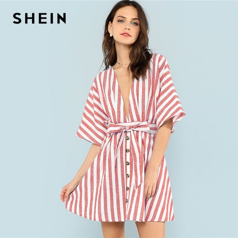 SHEIN Multicolor Vacation Boho Bohemian Beach Backless Deep V Neck Button <font><b>Front</b></font> Red Striped Belted Dress Summer Women Sexy Dress