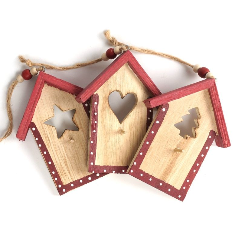Christmas decoration supplies 3pcs wood house Chrismas hanging Pendant Christmas decoration for home xmas tree decor Ornament