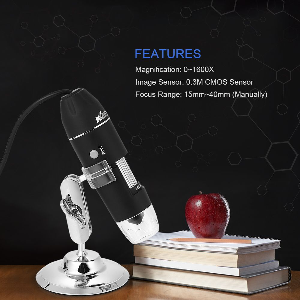 1600X Digital Microscope Magnification USB with OTG Endoscope 8 LED Light Magnifying Glass Magnifier Microscopio with Stand