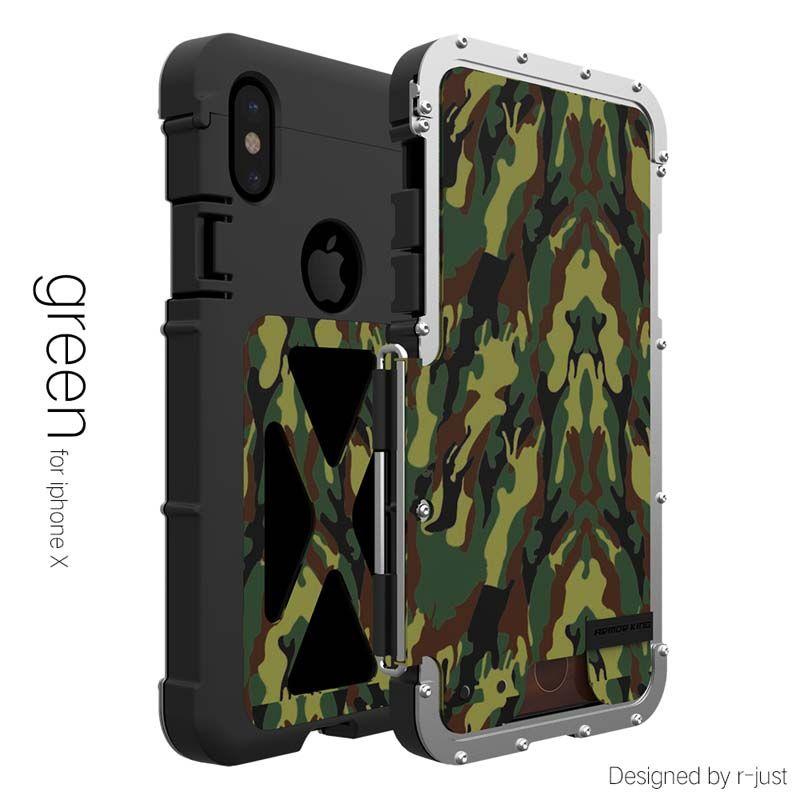 R-JUST Original Armor King Stainless Steel Flip Phone Metal Case Mobile Phone Bag For iphone 6plus 6s 6 7 7plus 8 8plus X JS0012