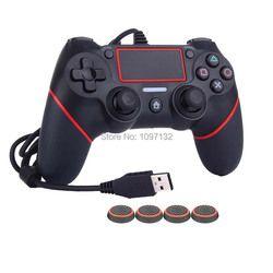 PS4 USB Filaire Contrôleur pour Sony PS4 Playstation 4 Dualshock 4 Joystick Gamepads avec 1.8 M Câble et Livraison Caps