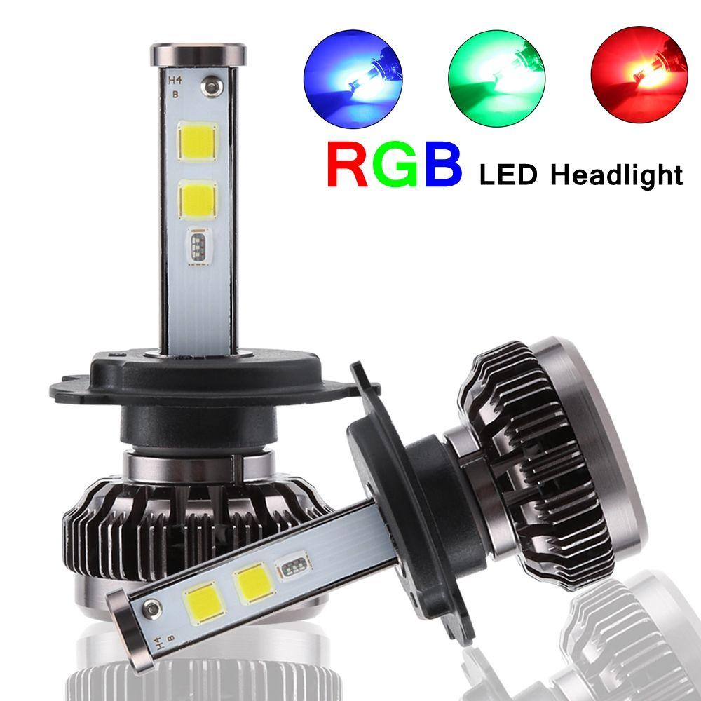 H4 H7 LED Bulbs RGB LED Headlight APP Bluetooth Control H1 H3 H8 H11 HB3 HB4 Car LED Light Headlamp Colorful Auto Headlamps