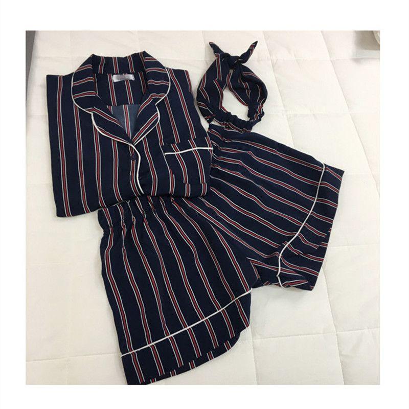 Plus la Taille 2 Couleurs 2018 D'été à manches Courtes Pyjamas Femme Rayé Trois pièces Costume Short Survêtement Femmes vêtements de Nuit lâche Chaude