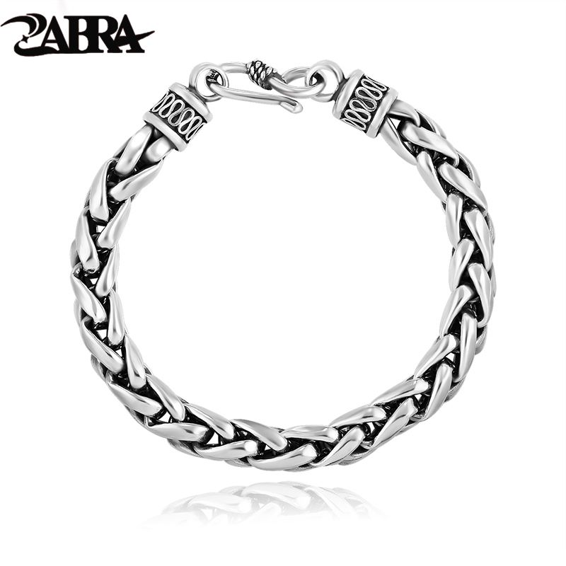 Hand Braided Thai Vintage Sterling Silver Wheat Lines Bracelet Men's Jewelry Retro Thai 925 Silver Wrist Link Sculpture