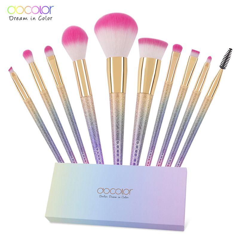 Docolor 10 pièces maquillage pinceau ensemble fantaisie ensemble professionnel haute qualité pinceaux fond de teint poudre fard à paupières Kits dégradé de couleur