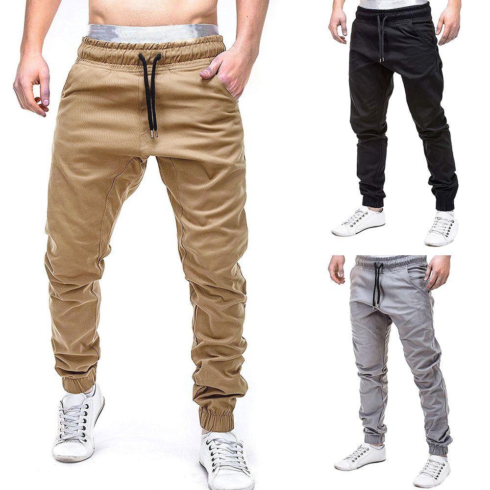 2019 pantalons de survêtement pour hommes pantalons décontractés en coton slim fit cordon Harem pantalons de survêtement Slacks décontracté poches élastiques pantalons 3.22