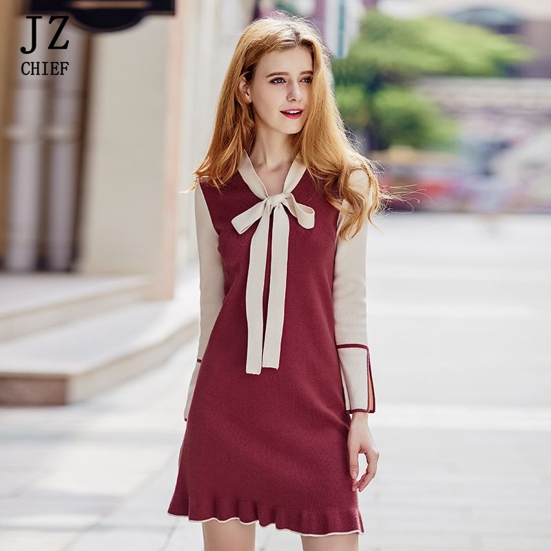 JZ CHIEF Knit Dresses Sweater High Quality 2018 Spring Vintage Knitted Bow long Sleeve Tunic Dress Work Office Vestidos Ruffles