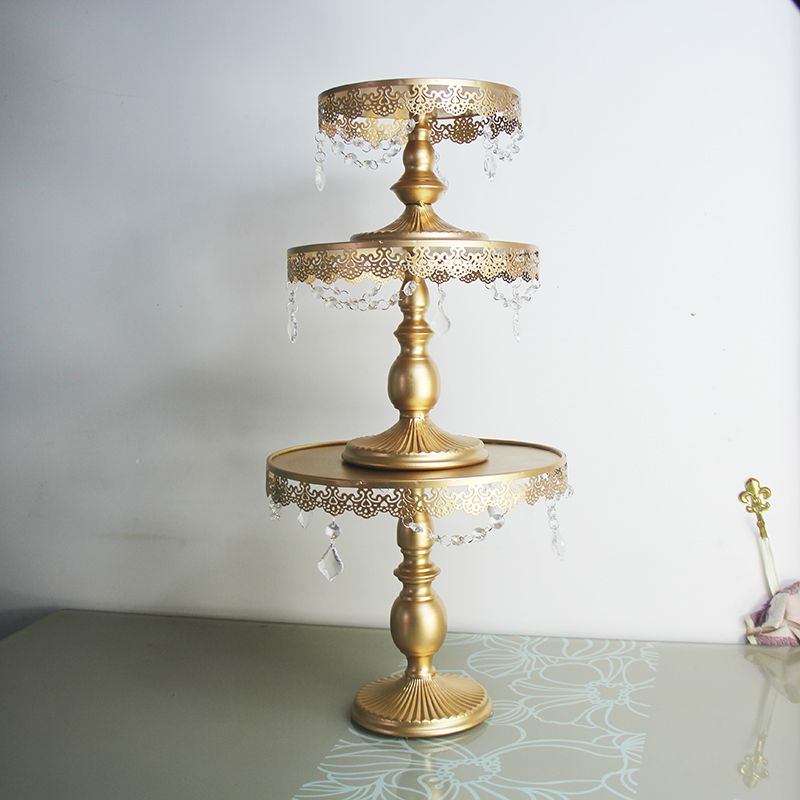 Gold cake stand metal iron crystal pendant cupcake stand wedding party decoration supplier baking cake accessory tools