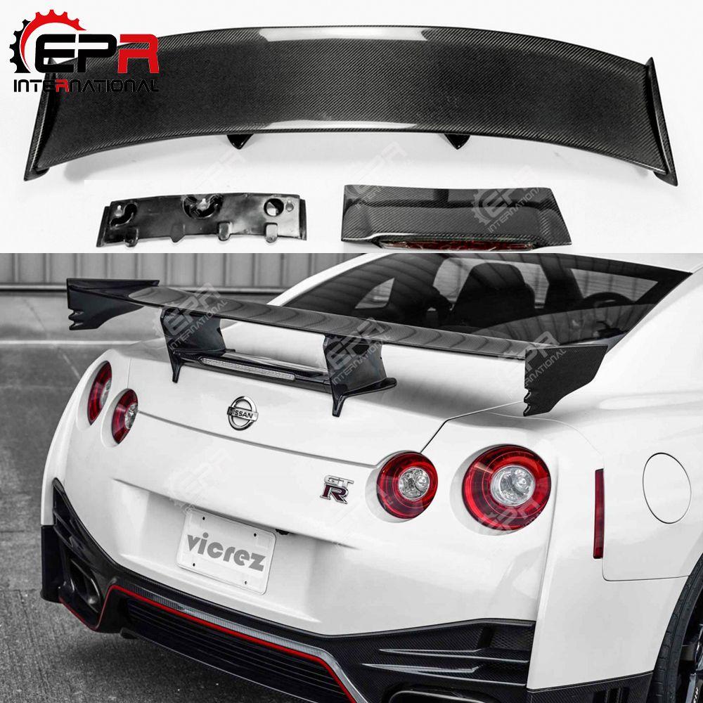 Für Nissan R35 GTR Carbon Fiber Heckspoiler (Enthalten Lichter) nismo Stil GT Hinten Wing Für GTR R35 Körper Kit Tuning
