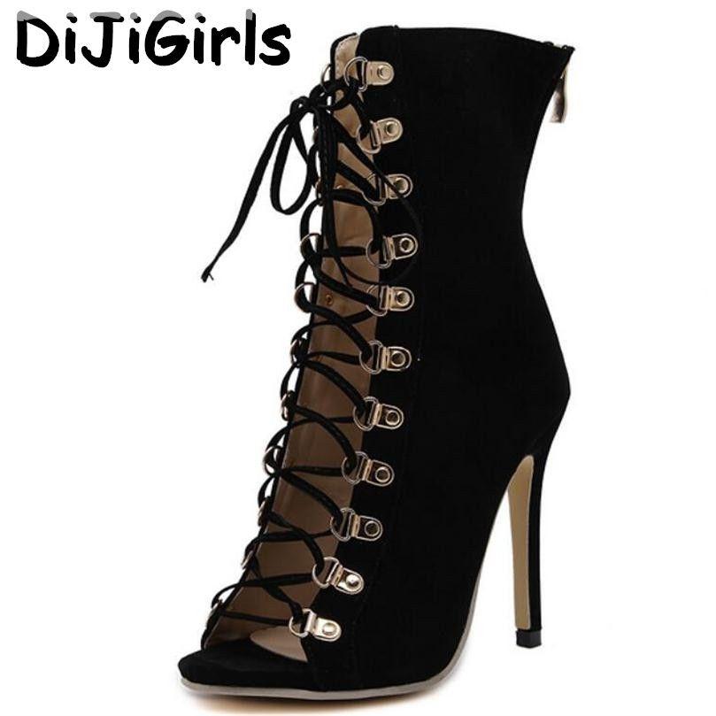 DiJiGirls De Gladiateur De Mode Haut Talons Femmes Sandales Genova Stiletto Sandale Chaussons Ouvert Toe Lace Up Pompes Chaussures Femme Bottes