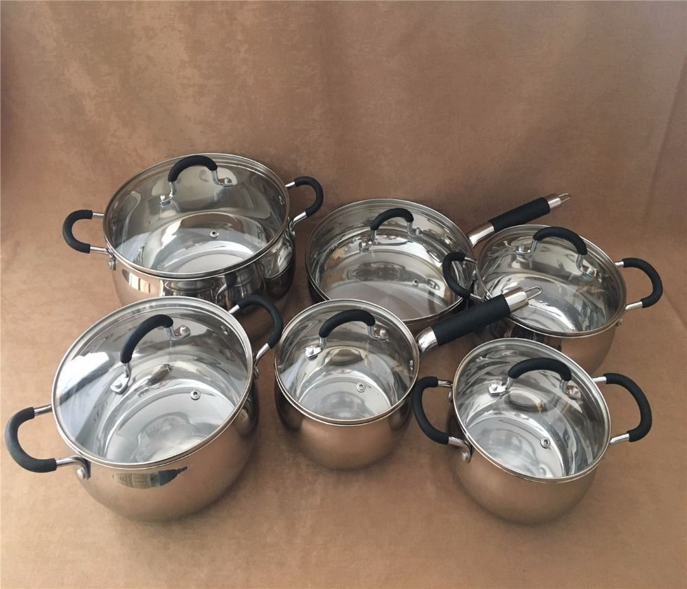 Töpfe und pfannen aufläufe luxus pfanne caucepan inox set silikon anti-hot kochgeschirr set kitchen tools