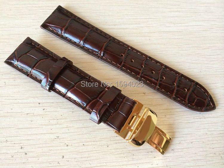 20mm (Buckle18mm) T019430 haute qualité plaqué or boucle ardillon + bracelet en cuir véritable marron bracelets de montre