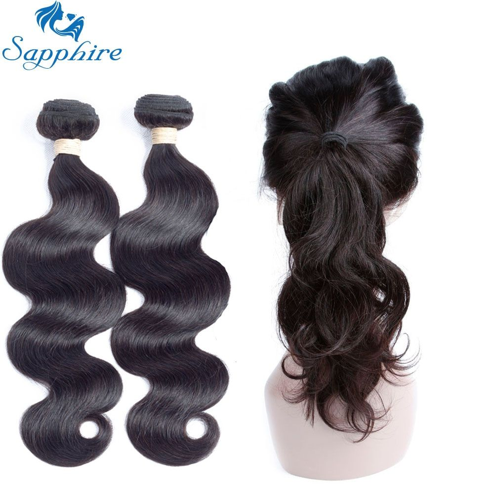 Sapphire Peruvian Hair Body Wave 2/3 Bundles With 360 Lace Frontal Closure Remy Human Hair With Lace Frontal Salon Hair Bundles