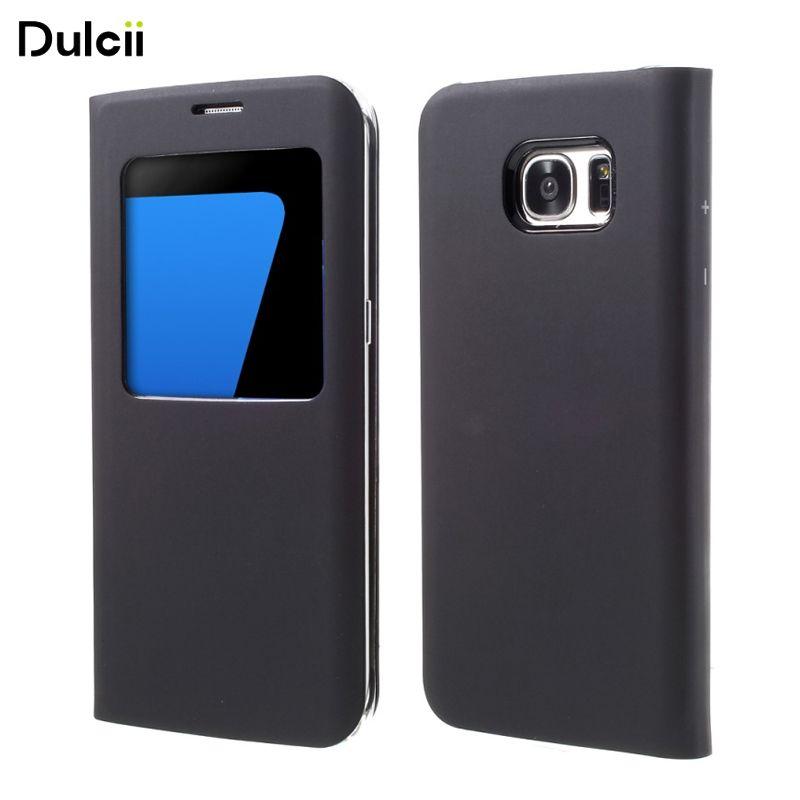 Dulcii for Galaxy S 7 edge Leather Cases Window View Leather Cover Case for Samsung Galaxy S7 Edge G935 - Black