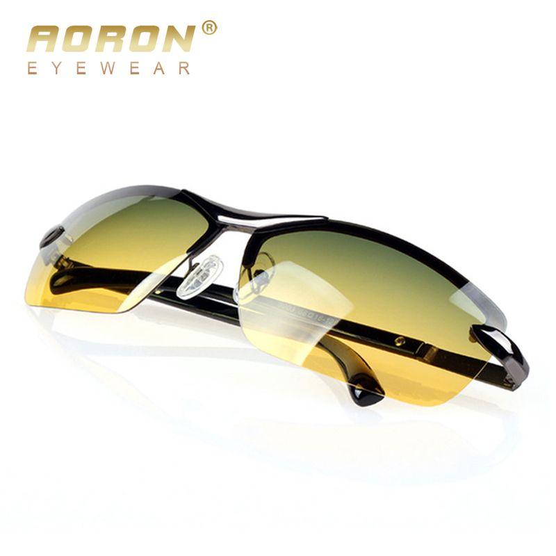 AORON hommes lunettes de soleil polarisées jour et nuit lunettes Vison multifonction réduire l'éblouissement lunettes LOGO Original boîte à lunettes