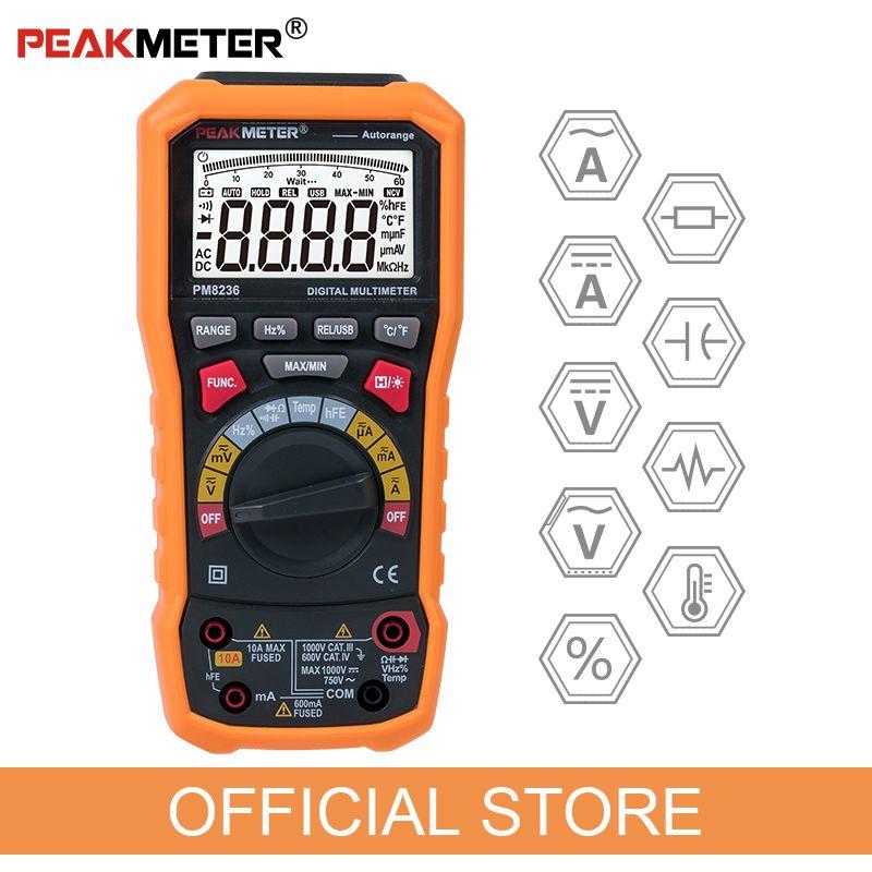 Officiel PEAKMETER PM8236 Auto Gamme manuelle Multimètre Numérique TRMS 1000 v Température capacité D'essai de fréquence
