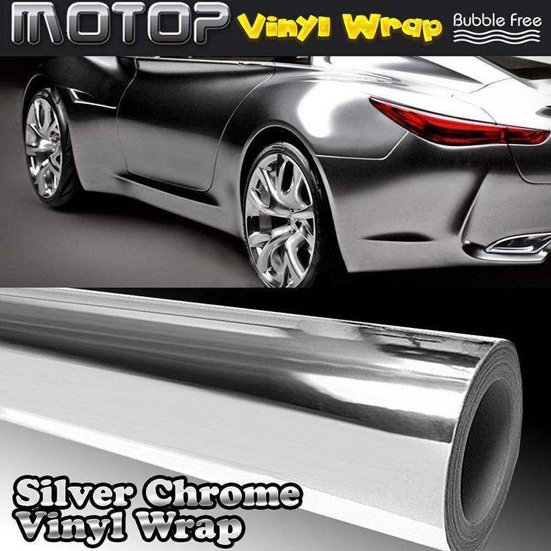 Haute Qualité 30x152 CM 12x60 pouces BRICOLAGE Voiture Argent Chrome 3D Vinyle Wrap Film Autocollant Decal pour Véhicule Auto Moto Autocollants