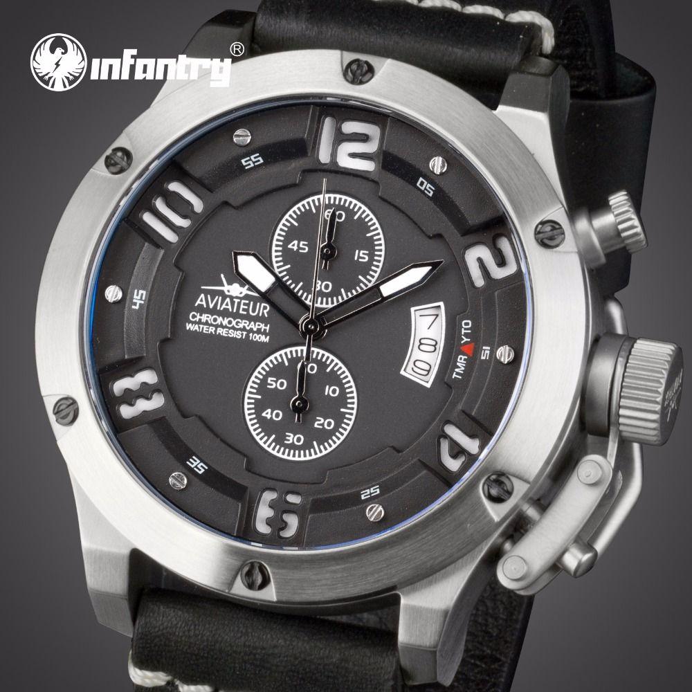 INFANTRY Aviateur Men Multi-function Watches Luxury Brand Waterproof Swim Quartz Wrist Watch Genuine Leather Luminous Stop Watch