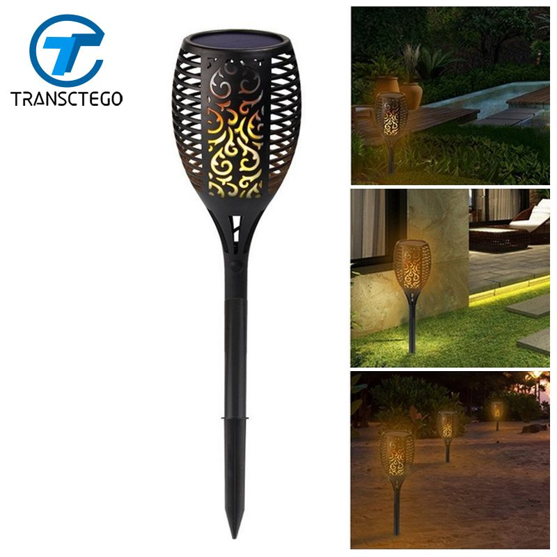 Solar Lamp Garden Waterproof 96 LED Tiki Torch Light Outdoor Courtyard Solar Energy Dancing Flame Flickering Decoration Lamps