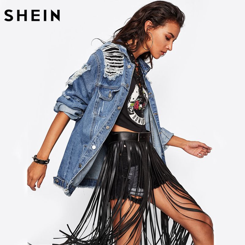 SHEIN Destroyed Boyfriend Denim Jacket Blue lapel Fall Jackets Women Single Breasted Casual Womens Jackets and Coats