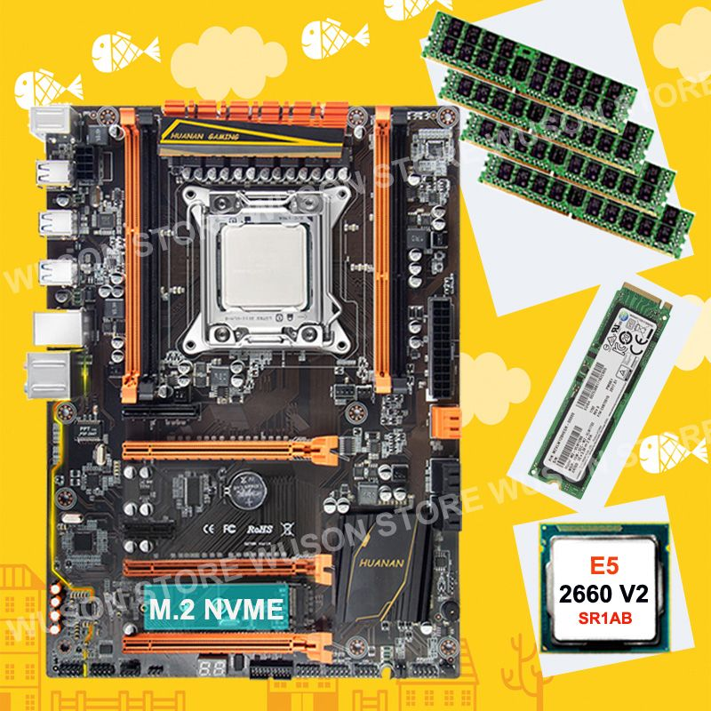 Rabatt HUANAN ZHI X79 motherboard mit M.2 128G NVMe SSD motherboard mit CPU Xeon E5 2660 V2 SR1AB RAM 4*8G DDR3 1600 REG ECC