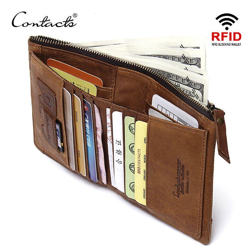 CONTACT'S RFID blocage à deux volets mince en cuir véritable mince portefeuilles pour hommes sac à main ID/porte-carte de crédit mode nouveau portefeuille court