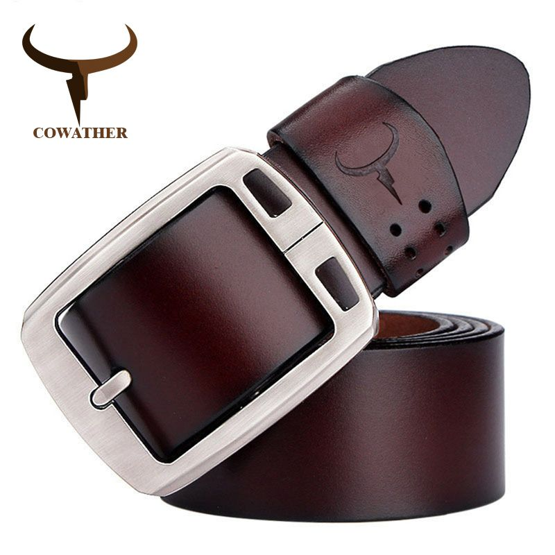 COWATHER cowhide genuine leather belts for <font><b>men</b></font> brand Strap male pin buckle vintage jeans belt 100-150 cm long waist 30-52 XF001