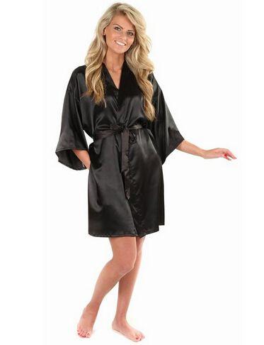 Nouveau noir chinois femmes Faux soie Robe de bain Robe offre spéciale Kimono Yukata peignoir couleur unie vêtements de nuit S M L XL XXL NB032
