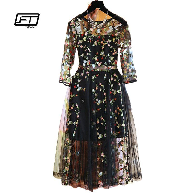 Fitaylor Лето 2017 г. женское платье Для женщин элегантный короткий рукав Тюль газ с цветочным принтом Вышивка черный Платье с круглым вырезом